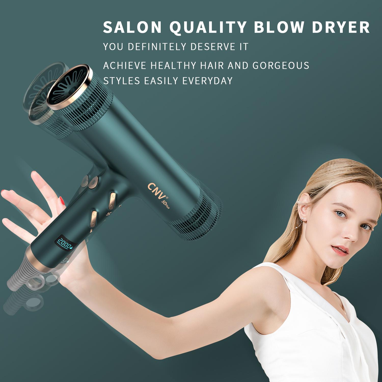 Green CNV Sèche-cheveux ionique sain 2 en 1 Céramique professionnelle et coup ionique